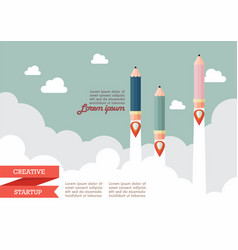 Startup with pencil rockets vector