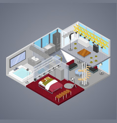 Modern duplex apartment interior isometric vector