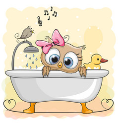 Owl in the bathroom vector