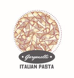 sticker with hand drawn pasta garganelli vector image