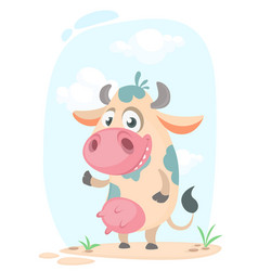 cartoon cute pretty cow standing and smiling vector image