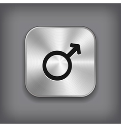 Male icon - metal app button vector image
