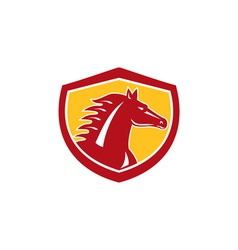 Horse head angry shield retro vector