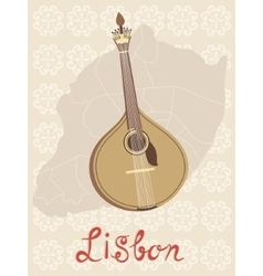Tipical portuguese fado guitar over Lisbon map and vector image