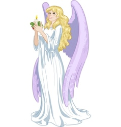 Beautiful caucasian female angel with candle vector