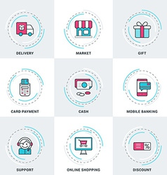 Modern business and shopping line icons set vector