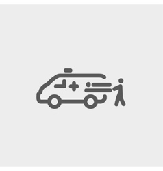 Man and ambulance car thin line icon vector image