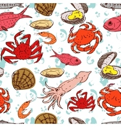 Seafood seamless background vector
