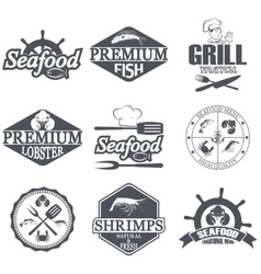 Seafood icons and logos vector