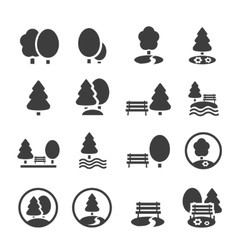 Park icon set trees forest icons vector