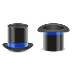 Set black hat magician cylinder vector image