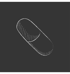 Capsule pill drawn in chalk icon vector