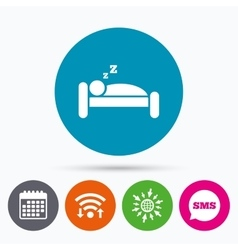Hotel sign icon rest place sleeper symbol vector