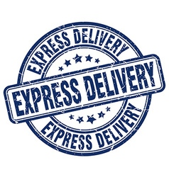 Express delivery blue grunge round vintage rubber vector