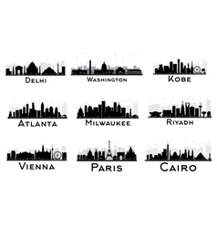 Set of city skyline black and white silhouette vector