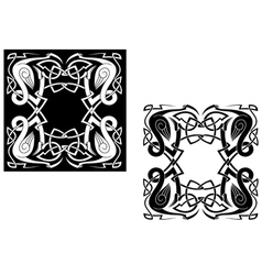 Herons with celtic ornamental elements vector image
