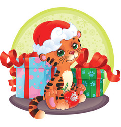 adorable tiger-cub with christmas gifts vector image vector image