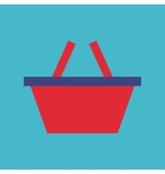 Basket shopping flat isolated icon vector