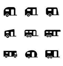 Black trailer icon set vector
