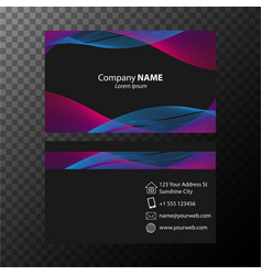 Businesscard template with blue and pink wavy vector