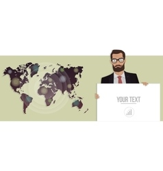 Businessman with a board and map of the world vector