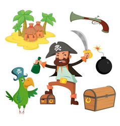 cartoon pirate set vector image