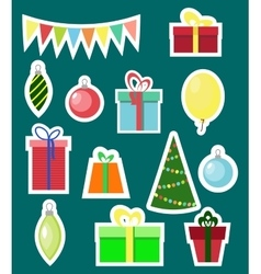 Christmas and new year flat elements sticker set vector