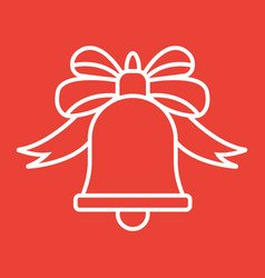 christmas bell with bow line icon new year vector image vector image