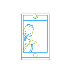 color line smartphone technology with robot vector image vector image