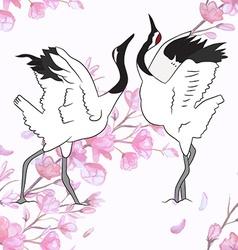 Cranes dancing vector