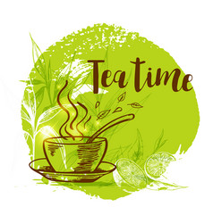 cup of tea and bamboo branch vector image vector image