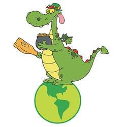Dragon leprechaun on a globe vector
