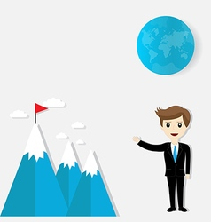 Flag on mountain success and goal business vector image vector image