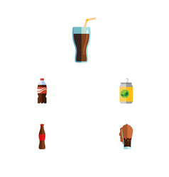 Flat icon soda set of soda bottle beverage and vector