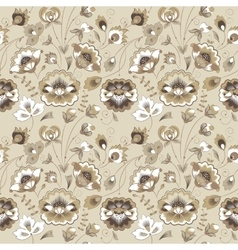 Floral seamless pattern in beige color scheme vector
