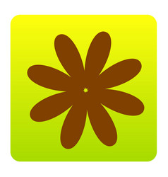 Flower sign brown icon at vector