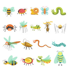 Funny cartoon insects and bugs isolated vector