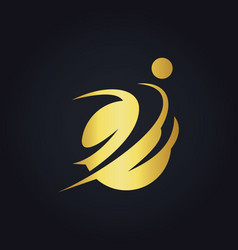 Gold people sport round logo vector