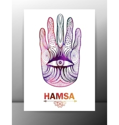 Hamsa hand card with ornament EPS10 vector image