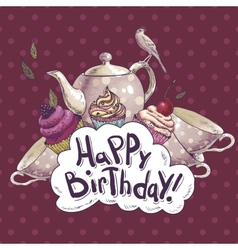 Happy Birthday card with a Cupcake and Pot vector image