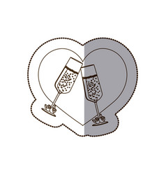 Heart with glasses of champagne inside vector