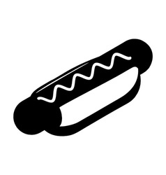 Hot dog silhouette Fast food in flat style icon vector image