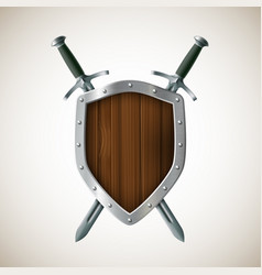 Icon two sword and shield heraldic sign coat of vector