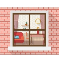 Living room through the window vector image vector image