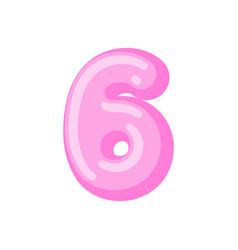 number 6 candy font caramel alphabet six lollipop vector image