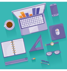Office objects the view from the top vector