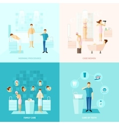 Personal and family care icons set vector
