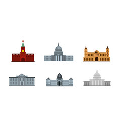 president building icon set flat style vector image