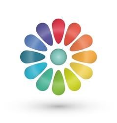 Rainbow flower balloon icons logo design vector