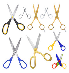 realistic scissor family collection vector image
